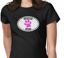 RESCUE MOM - PINK HEART Womens Fitted T-Shirt