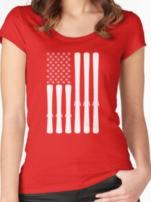 USA Ski Flag Women's Fitted Scoop T-Shirt