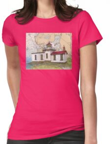 West Pt Lighthouse WA Nautical Map Cathy Peek Womens Fitted T-Shirt
