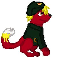 Red Furry Communist Dog Pixel by FlutterMuffins