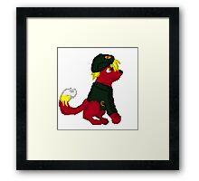 Red Furry Communist Dog Pixel Framed Print