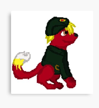 Red Furry Communist Dog Pixel Canvas Print