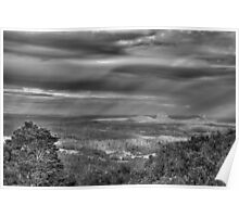 sun showers over the glasshouse mountains b&w Poster