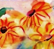 Border of Anna's Flowers by Anna  Lewis, blind artist
