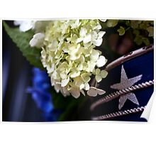 White Hydrangea - stars and stripes container Poster