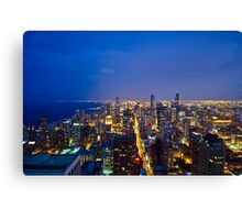 Chicago Cityscapes South at Night Canvas Print