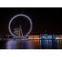 Th London Eye at Night Photographic Print