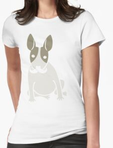 English Bull Terrier with Moustache - puppy dog Womens Fitted T-Shirt