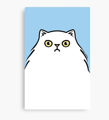 Angry White Persian Kitty Cat Canvas Print