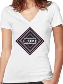 Flume psychedelic - white Women's Fitted V-Neck T-Shirt
