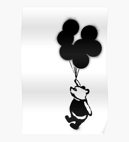 Flying Balloon Bear - Off Center Version Poster