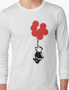 Flying Balloon Bear - Off Center Version (Red) Long Sleeve T-Shirt