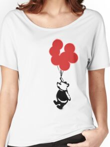 Flying Balloon Bear - Off Center Version (Red) Women's Relaxed Fit T-Shirt