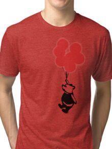 Flying Balloon Bear - Off Center Version (Red) Tri-blend T-Shirt