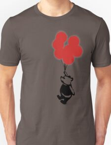 Flying Balloon Bear - Off Center Version (Red) T-Shirt