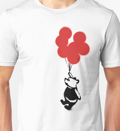 Flying Balloon Bear - Off Center Version (Red) Unisex T-Shirt