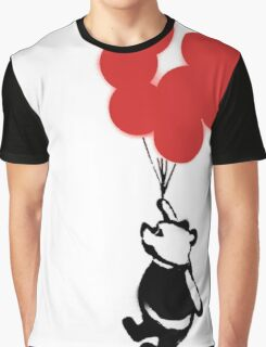Flying Balloon Bear - Off Center Version (Red) Graphic T-Shirt