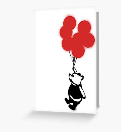 Flying Balloon Bear - Off Center Version (Red) Greeting Card