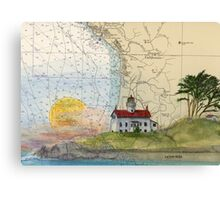 Battery Pt Lighthouse CA Map Chart Cathy Peek Canvas Print