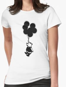 Flying Balloon Bear Womens Fitted T-Shirt