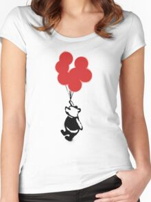 Flying Balloon Bear - Red Balloons Version Women's Fitted Scoop T-Shirt