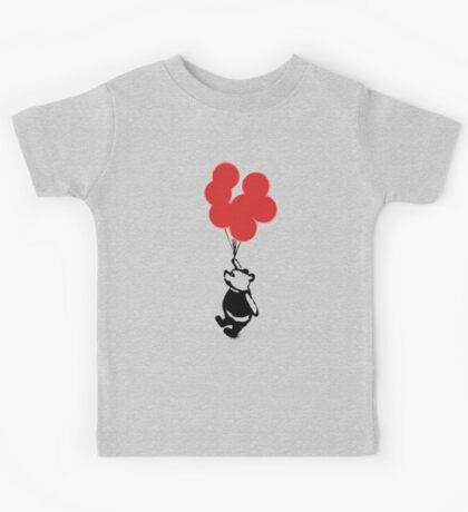 Flying Balloon Bear - Red Balloons Version Kids Tee