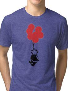 Flying Balloon Bear - Red Balloons Version Tri-blend T-Shirt
