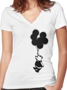 Flying Balloon Bear - Off Center Version Women's Fitted V-Neck T-Shirt