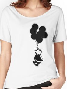 Flying Balloon Bear - Off Center Version Women's Relaxed Fit T-Shirt