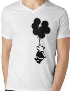 Flying Balloon Bear - Off Center Version Mens V-Neck T-Shirt