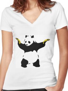 Bad Panda Stencil Women's Fitted V-Neck T-Shirt