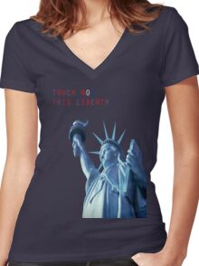 TOUCH NOT THIS LIBERTY Women's Fitted V-Neck T-Shirt