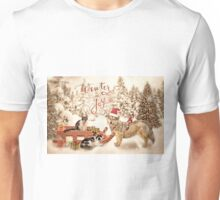Snow day outing with the kitties Unisex T-Shirt