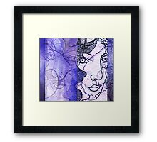 An Imaginary Woman With Ghosted / Echoed Face  Framed Print