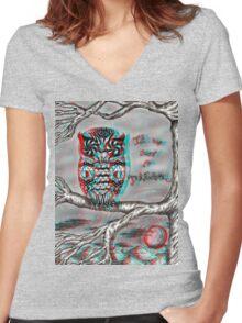 Dream Owl (3D) Women's Fitted V-Neck T-Shirt