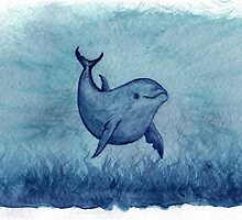 Inshore Dolphin Watercolor by Amber Marine