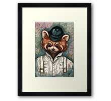Cute Red Panda in Bowler hat Framed Print