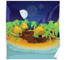 Tribal Village Moonlit night Poster