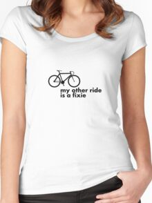my other ride is a fixie. Women's Fitted Scoop T-Shirt