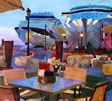 San Juan Cafe Terrace With Cruise Ships  by artshop77