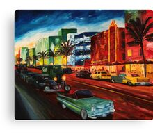 Ocean Drive Miami with Mint Cadillac Canvas Print