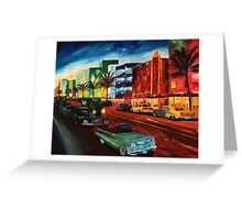 Ocean Drive Miami with Mint Cadillac Greeting Card
