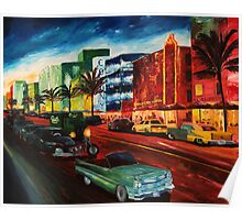 Ocean Drive Miami with Mint Cadillac Poster