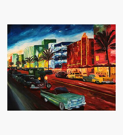 Ocean Drive Miami with Mint Cadillac Photographic Print