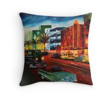 Ocean Drive Miami with Mint Cadillac Throw Pillow