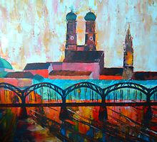 Munich with central station and Hacker bridge by artshop77