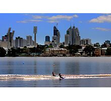 Two Skiers in the Swan River Photographic Print