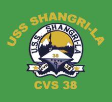 USS Shangri-La (CV/CVA/CVS-38) Crest for Dark Colors Kids Tee