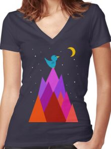 The Moon is my friend Women's Fitted V-Neck T-Shirt