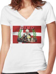 DINO KART Vintage pic Harm Schuurman  Women's Fitted V-Neck T-Shirt